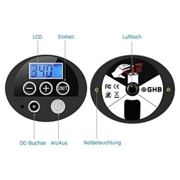 GHB Mini Auto-Luftpumpe Elektrischer Luftverdichter für Fahrrad Ball Ballon 150 PSI Portabel Aufladbar mit LCD-Display (Verpackung MEHRWEG) - 7