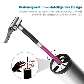 GHB Mini Auto-Luftpumpe Elektrischer Luftverdichter für Fahrrad Ball Ballon 150 PSI Portabel Aufladbar mit LCD-Display (Verpackung MEHRWEG) - 9